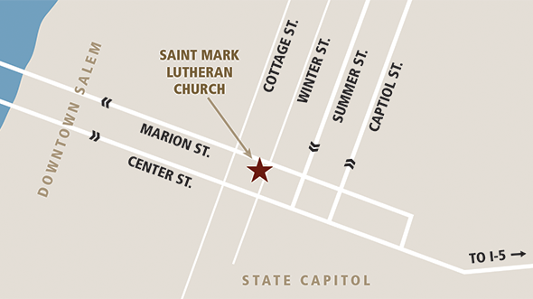 Map to Saint Mark Lutheran Church